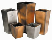 Tapered square galvanised plant containers